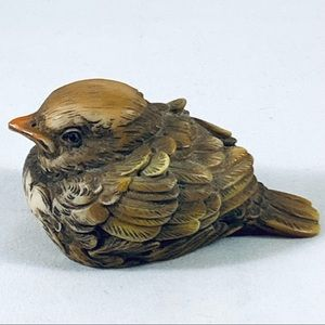 Vintage Painted By Hand Resin Baby Bird Fledgling Made In Italy